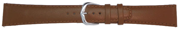 Light Brown Leather Straps, Gilt 22 mm